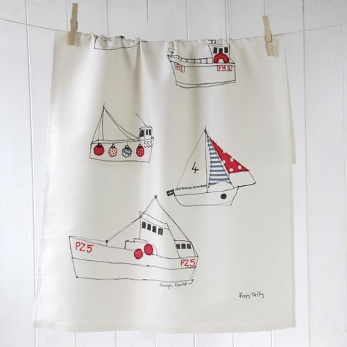 Boats Tea Towel