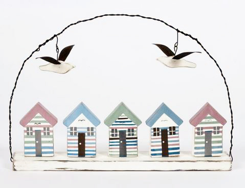 Pastel Beach Huts With Gulls